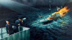 Скачать обои пламя, Чили, матрос, арт, WW1, сражение у порта Коронель, бронепалубного крейсера «Нюрнберг», рисунок, дым, броненосного крейсера «Монмут», с немецкого, предложение сдаться, гибель британского, офицер, огонь, раздел оружие в разрешении 1360x768
