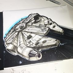 Are you excited for the new Star Wars movie? I am. I've always loved the design of the millennium falcon and the Star Wars movies concept designs. Funny though because this so the first time I've tried to draw a millennium falcon. Turned out okay.  If you want to see me sketch this  Check out my latest video on my YouTube channel (link in profile)  #sketch #starwars #theforceawakens #millenniumfalcon #conceptart #video #sketchaday #idsketching #illustration #copic #copicmarkers by…