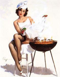 Vintage Retro Gil Elvgren Barbeque Pin Up Girl Posters Pin Up Vintage, Retro Pin Up, Estilo Pin Up Retro, Photo Vintage, Retro Vintage, Vintage Humor, Vintage Frames, Pinup Art, Gil Elvgren