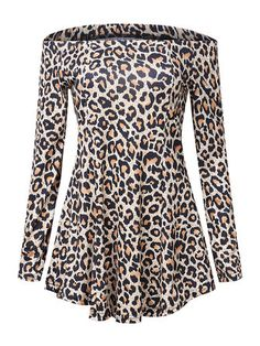 Women Sexy Leopard Print Off Shoulder Long Sleeve Mini Dress