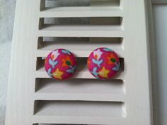 Multi-Colored Flowers on Pink Fabric Covered Button Post Earrings