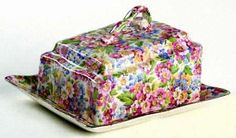 Kent, James (England) Apple Blossom-Pink Chintz Vintage Cheese dish with lid