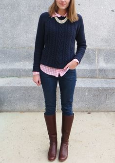 Navy cable knit sweater layered over pink gingham shirt, tall boots, pearl necklace // @oldnavy @jcrew @madewell @ColeHaan