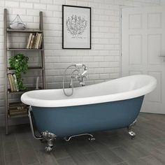 Astoria Blue 1710 Roll Top Slipper Bath W Chrome Ball Claw Leg Set