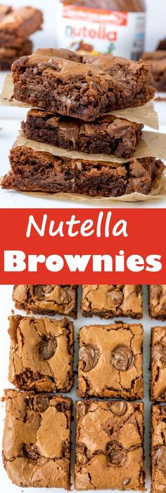 These NUTELLA BROWNIES with their crisp, meringue-like top and squidgy centre (filled with pockets of Nutella course) are the BEST. Easily made gluten free too!