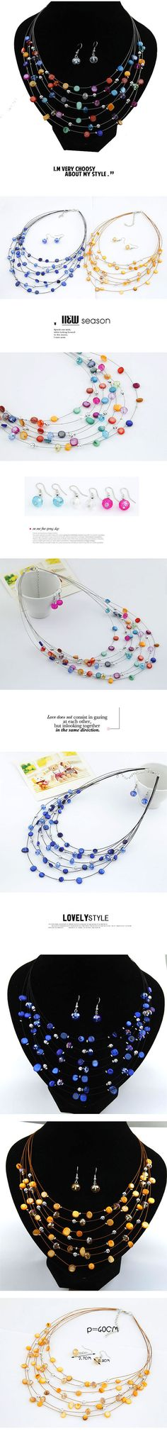 Acrylic Multicolour Shell Design Multilayer Alloy Jewelry Sets  www.asujewelry.com