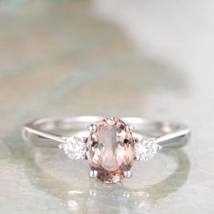 Large Engagement Rings, Gifts For Women, Gifts For Her, Morganite Jewelry, Pink Ring, Three Stone Rings, Fashion Rings, Silver Rings, Wedding Rings