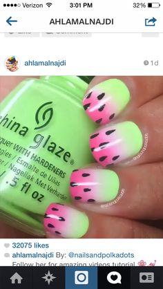Ombré watermelon nails