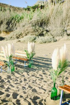 A bohemian surf wedding in Greece with tropical and botanical elements! Maria and Nikos have tied the own knot in Greece! Surf Wedding, Beach Wedding Aisles, Beach Ceremony, Beach Wedding Decorations, Destination Wedding, Wedding Destinations, Beach Weddings, Winter Wedding Flowers, Rustic Wedding Flowers