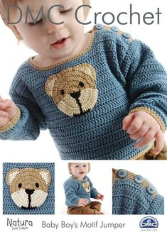 DMC Crochet pattern , Baby Boys Teddy Motif Jumper ,Sweater Pattern designed by Claire Crompton, baby crochet, childs sweater Crochet Baby Sweaters, Crochet Baby Clothes, Baby Knitting, Crochet Jacket, Knit Crochet, Crochet Hats, Baby Patterns, Knitting Patterns, Crochet Patterns