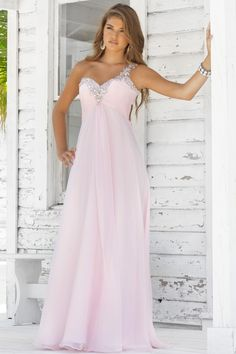 US$148.50 · Loose Column Style of Prom Gown One Shoulder with Beadings Chiffon Floor Length Pink (2012PD