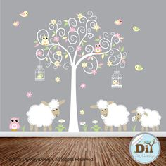 Yellow Green and Pink Vinyl Tree Decal Lambs by DiyVinylDesign