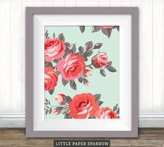 Printable SHABBY Chic NURSERY ART - Vintage Floral, English Rose Garden, Pretty - Pale blue, red, pink, coral - 8 x 10 inch, 6 x 8 inch by LittleBabySparrow on Etsy https://www.etsy.com/listing/187571176/printable-shabby-chic-nursery-art
