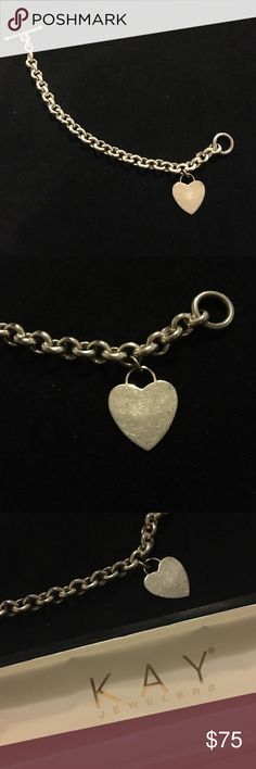 💋Tiffany's Style Sterling Heart Charm Bracelet💋 Sterling silver .925 hallmark on chain and charm! Slight tarnish in the charm, just needs a little polish, but is not yet engraved so still customizable! Open to all questions and offers! ---- Note: Not Tiffany and Co., just similar in style ---- Kay Jewelers Jewelry Bracelets