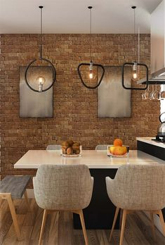 Wall of brick wall pictures Living Room Pictures, Wall Pictures, Kitchen Dining, Dining Room, Narrow Shelves, Brick And Stone, Small Plates, Brick Wall, Modern Interior Design