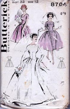 1950s Wedding Dress Pattern Bridesmaids Dress Bridal Gown Butterick 8704 Size 12 Bust 32 inches UNUSED Factory Folded