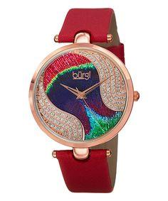 Loving this Red Leather-Strap Watch With Swarovski® Crystals on #zulily! #zulilyfinds