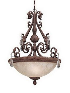 Designers Fountain Lighting 91405 AO San Mateo Collection Three Light Hanging Chandelier in Ancient Oak Finish