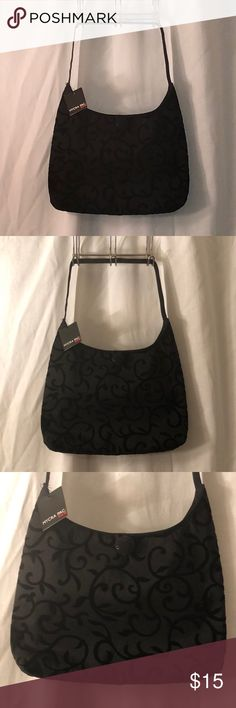 NWT Mycra Pac Donatella Flocked Scroll Black Tote NEW WITH TAGS. Donatella Flocked Scroll black reversible tote bag. This item has original tags and shows no visible signs of wear. Carry anything in this bag! Beautiful scroll black Flocked fabric. Rain or shine.   Return Policy: All Sales are final per Poshmark's guidelines.  Shipped from a smoke and pet free environment. Mycra Pac Designer Wear Bags Shoulder Bags