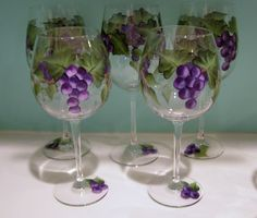 Hand Painted Grapes Wine Glasses by purplepetalsstudio on Etsy, $15.00