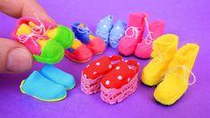 6 DIY Barbie shoes and boots - DIY - kadinolog Barbie E Ken, Barbie Paper Dolls, Baby Doll Shoes, Barbie Shoes, Doll Shoe Patterns, Barbie Sewing Patterns, Crochet Barbie Clothes, Doll Clothes Barbie, Barbie Stuff