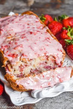 Strawberry Bread Recipe with Fresh Strawberry Glaze {Easy Quick Bread}