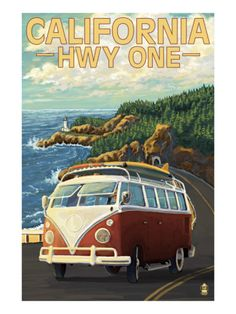 California Highway One Coast VW Van Art Print