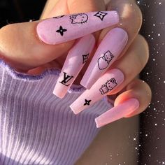 20 Hottest & Catchiest Nail Polish Trends in 2019 - Nails Beauty Pink Acrylic Nails, Purple Nails, Pastel Nails, Edgy Nails, Trendy Nails, Bling Nails, Soft Grunge Nails, Ongles Hello Kitty, Acylic Nails