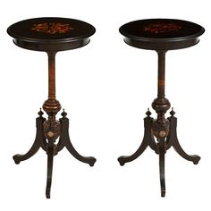 Pair of Swedish Side Tables with Marquetry, c. 1870
