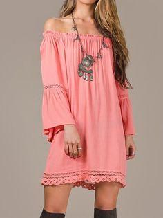 Eliza Bella for Flying Tomato Coral Boho-Babe Hippie Off Shoulder Dress Size S