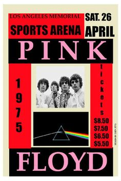 Pink Floyd at the Los Angeles Sports Arena Concert Poster 1975 Tour Posters, Band Posters, Music Posters, Pink Floyd Dark Side, Rock Roll, Pink Floyd Concert, Vintage Concert Posters, Rock Concert, Poster Pictures