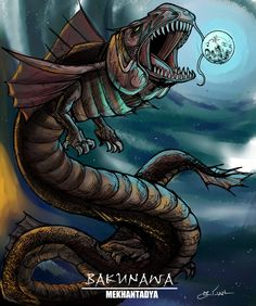 """Eclipse in the Philippines is """"lahu"""" in sanskrit it's """"rahu"""". this image is of the Bakunawa, the philippine legendary monster that swallows the moon. The total lunar eclipse was explained in this way in long times past. Mythological Creatures, Fantasy Creatures, Mythical Creatures, Sea Creatures, Legendary Monsters, Legendary Creature, Philippine Mythology, Filipino Culture, Philippines"""