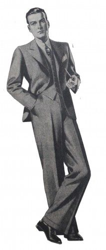 1930s men's fashion- Wide shoulders, nipped waist, wide pants, and matching vest.