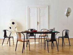 Ronan & Erwan Bouroullec - Belleville Table, Armchair, Wood and Leather chairs, 2015
