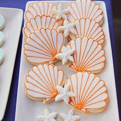 shell cookies - would be a cut baptism favor if done with white and blue