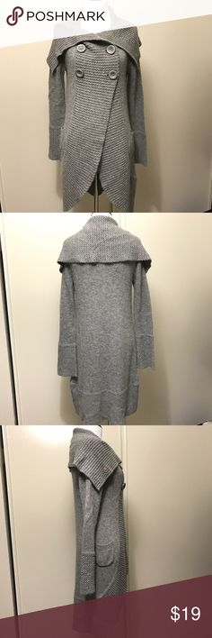 Forever 21 Grey Sweater Gently worn, in great condition. Size small, grey. Has hidden snap at the chest and button closure. Two small front pockets. High/low style coverup sweater. Material is 70% Acrylic, 16% Nylon, 14% Angora. Lightweight, comfortable style and fit. Forever 21 Sweaters