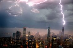 Lightning strikes the Willis Tower, formerly Sears Tower, in downtown Chicago on June 12, 2013. A massive storm system with heavy rain, high winds, hail and possible tornadoes moved into Illinois and much of the central part of the Midwest on Wednesday.