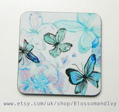 Butterfly Coaster  Printed Green Butterfly Floral by BlossomAndIvy