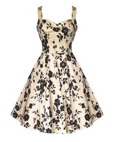 Banned After Midnight champagne and black floral dress
