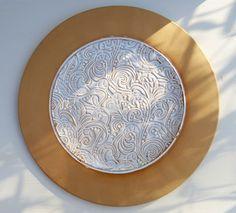 Teller weiß beige, Ornamente, Keramik