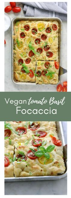 Easy Vegan Tomato Basil Focaccia Bread - Eat. Drink. Shrink. Easy Bread Recipes, Vegan Recipes, Varieties Of Tomatoes, No Rise Bread, Vegan Sauces, Vegan Bread, Instant Yeast, Tomato Basil, How To Make Bread