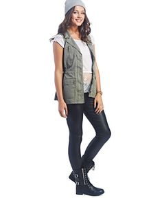 Long-Length Twill Military Vest | Wet Seal