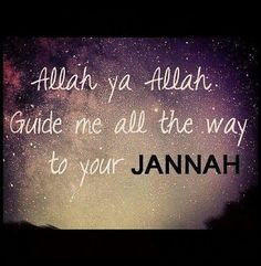 Allah, ya Allah, guide me all the way to Jannah. Ameen. Islam