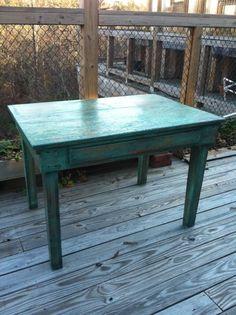 Farm table refurbished shabby chic  chalk by BlueSpringsOrchard