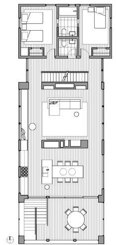 2 bedrooms/ bathrooms/ kitchen/ dining/ living room/ balcony Hill House by Lubrano Ciavarra Architects Small House Plans, House Floor Plans, Architectural Floor Plans, Narrow House, House On A Hill, Architecture Plan, House Layouts, Plan Design, Building Plans