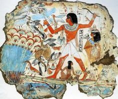 Fragment of relief from tomb of the official Nebamun at Thebes, Dynasty XVIII; hunting birds in the marsh, the detailed treatment of the animals demonstrates the high level of craftsmanship common during this period even in non-royal tombs. British Museum, London, U.K.