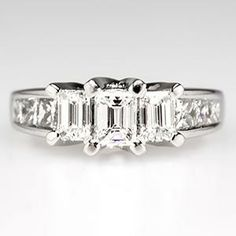 Three-Stone Engagement Ring w/ Emerald Cut Diamonds