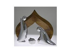 Nambe Nativity - Holy Family with Wood Creche 4 Piece Set