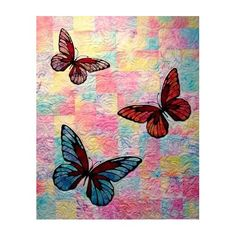 Butterflies on pieced background