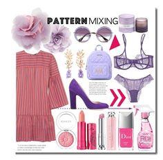 """Jun. N° 4 - Pattern Mixing"" by martinambf on Polyvore featuring moda, Vanessa Seward, Jimmy Choo, Cara, Love Moschino, Miu Miu, D.L. & Co., 100% Pure, Clinique e La Perla"